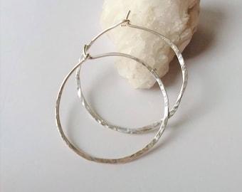 """3/4"""" Sterling Silver Hoop Earrings, Thin Hammered Silver Earrings, Sterling Silver Hoops, Rustic Modern Earrings, Everyday Earrings."""