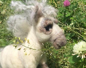 Handmade Pony/ Needle Felted Sculpture / Felted Pony / Felted Toy Pony / Organic Wool/ Toy Horse / Art Sculpture /