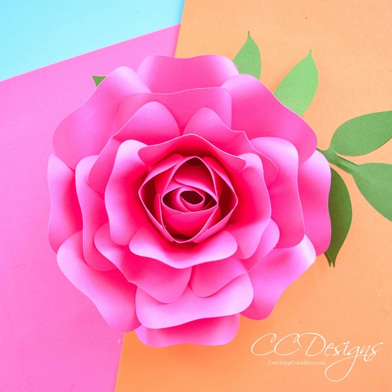 Paper rose template small paper flower rose template step by step il570xn mightylinksfo
