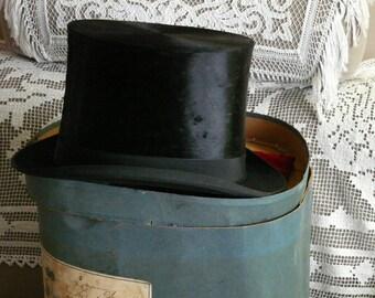 old top hat brand black DELION Paris t.55 - old hat top hat black marks