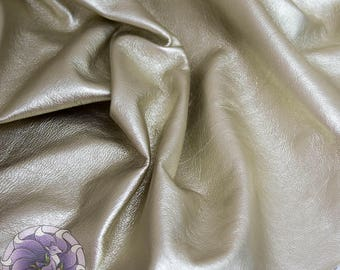 Genuine Metallic ligth gold Leather for back side handmade jewelry
