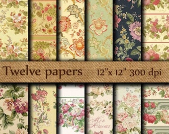 """SALE 50% OFF Shabby Chic Digital Papers: """"RETRO Floral Papers"""" pink flowers ,red flowers , pink roses , decoupage papers , vintage papers"""