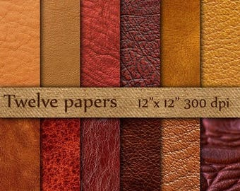 "SALE 50% OFF Leather Digital Paper: ""BROWN Leather"" leather texture , leather background , worn leather , red leather , natural leather"
