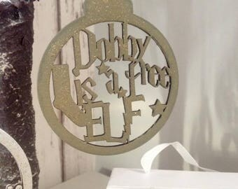 Harry Potter Dobby is a free Elf wooden bauble