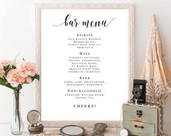 Bar menu template Bar menu editable pdf Bar menu printable Bar menu instant download Bar menu wedding template Wedding bar menu sign #vm31