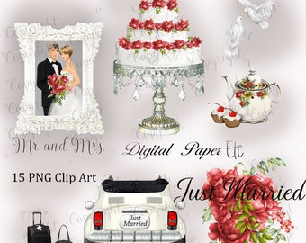 Wedding Clipart, Wedding Elements, Wedding Invitations, Bridal Shower, Wedding Illustrations, P 212