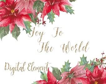 Poinsettia Clip-art, Christmas Clip-art, Watercolor Poinsettias, Flower Clip-art, Backdrop, Wallpaper Backgrounds. No. E41