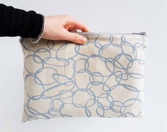 Extra large pouch organic cotton clutch / makeup / accessory bag