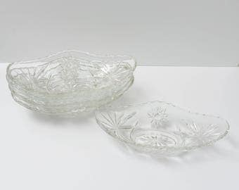 Set of FOUR Vintage 9.5 Inch Small Boat in Prescut Clear by Anchor Hocking EAPG