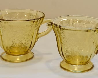 Vintage Open Sugar and Creamer Set in Recollection Amber by Indiana Glass