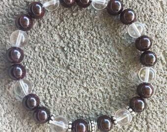 Please energized Bracelet please Garnet, rock crystal, Star peace on earth