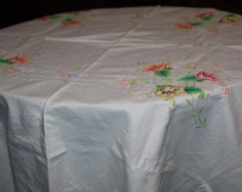 vintage table cloth painted and embroidery cloth 118 cm square table cloth F1