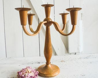 Vintage Candle Stand 5-arm candle holder wood copper, copper 60s
