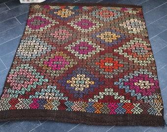 Handwoven Turkish Kilim Anatolian Kilim Rug, Free Shipping  3.5 x 4.1 Decorative Kilim Rug Embroidered Kilim Rug  Vintage Kilim Rug  No 506