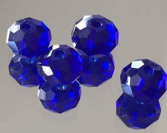 Blue Crystal Rondelle Beads Faceted Beads - Royal Blue Rondelles 7-8mm - Package of 20