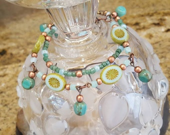 Oval Czech Glass Flowers bracelet duo.  Summery and light with copper.