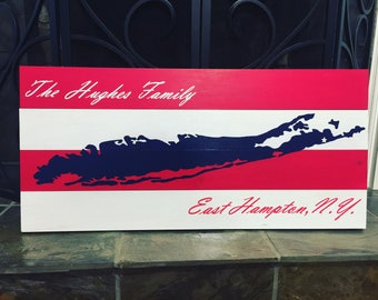 American flag Long Island wood sign| 30x14| Long Island Art| wall decor| beach house decor