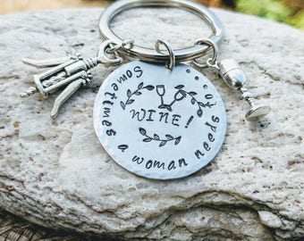 Gift for wine lover, Wine keychain, Wine key chain, Wine Key holder, Wine Keyring, Wine gifts for women, Wine gifts for mom, aunt, grandma
