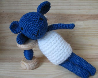 Doudou little sheep entirely hand made of 100% cotton crochet