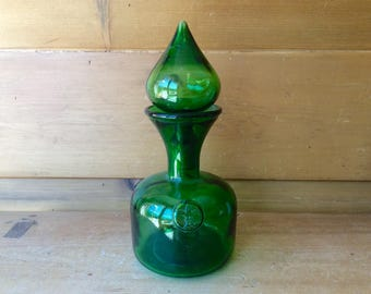 Vintage Green Fleur De Lis Empoli Genie Bottle Decanter with Stoppers Hand Blown Excellent