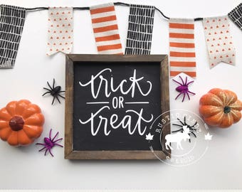 Halloween Sign // Wood Halloween Sign // Halloween Decor // Fall Decor // Trick or Treat // Trick or Treat Sign