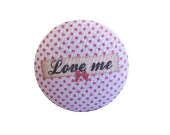 1 button x 22mm LOVE ME BOUT12 fabric