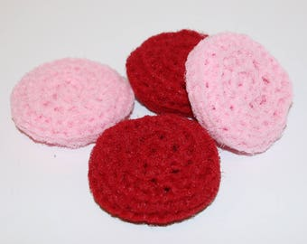 Scrubbies Crochet Set of 4 Deep Red and Light Pink Color Valentines