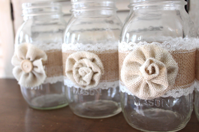 Rustic Country Wedding Centerpieces Burlap Mason Jar Backyard Barn