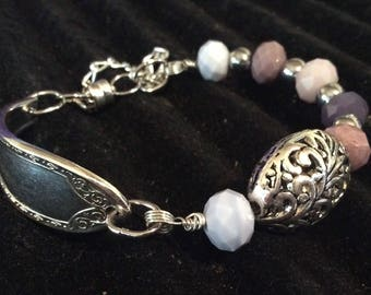 Beaded Spoon Bracelet ~ Spoon Jewelry ~ Vintage ~ Handcrafted ~ Vintage Bracelet