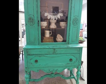 Beautiful Vintage Painted Teal China Cabinet with Antique Glazing Chippy Look