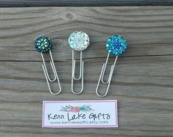 Set of 3, Gem planner paperclip, Rhinestone paperclip, diamond planner paperclip, Cute planner paper clip, Sparkly planner supplies