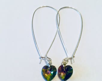 Sterling Silver and Swarovski Crystal Heart Earrings