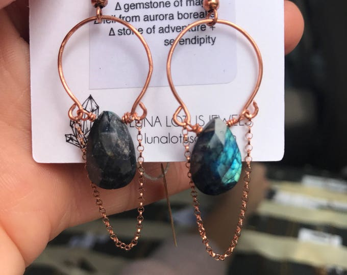 Labradorite Shooting Star Hoops / Rose Gold Copper Crystal Hoops with Dangle Chain Accent Earrings
