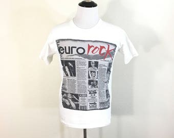 rare vintage london euro rock newspaper print t-shirt 100% cotton