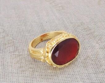 20% Off CIJ Sale Red Onyx Ring - Bezel Set Ring - Onyx Gemstone Ring - December Birthstone Ring - Lovely Design Ring - Faceted Stone Ring -