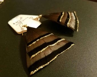 Wild turkey feathers wild Turkey feather earrings handmade feather jewelry with gold glitter lining NWT