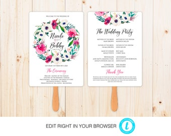 Flower Wedding Program,Printable Ceremony Template, Wedding Program Printable, Instant Download,Fully Editable
