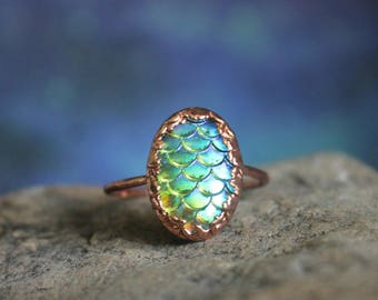 Dragon Egg Ring,  Game of Thrones Ring, Rose Gold Toned Copper Dragon Scale Ring, Dragon Jewelry, Made to Order Any Size, Dragon Ring Gift