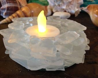 Beach Sea Glass  Candle Holder Home Cabana Decor  Beach Glass #82