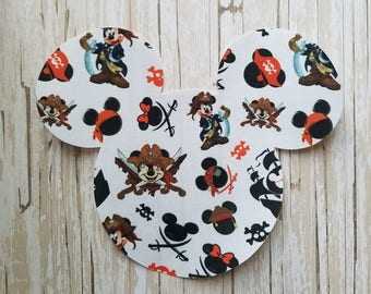"HUGE 7""x 8"" Disneyland Pirate Mickey Mouse Fabric Iron On Applique DIY No Sew, Family Matching Shirts, Custom Disney World Carribean"