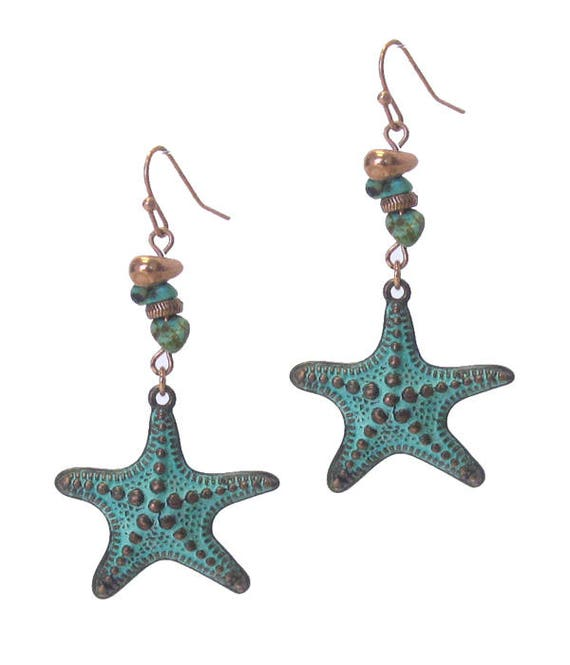 WHOLESALE-Embellished Starfish Earrings, Turquoise, White or Gold