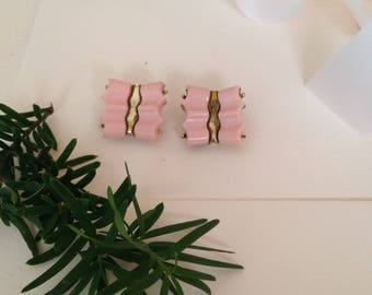 1960s - 1960s Earrings - Mod Earrings - 1960s Mod - Pink and Gold - Butterfly Earrings - Antique Earrings - Clip on Earrings - Light Pink