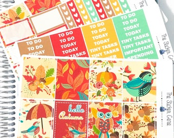 Hello Autumn Weekly Kit | Planner Stickers, Weekly Kit, fall weekly kit, Vertical Planner Kit, autumn weekly kit, leaves weekly kit, pumpkin