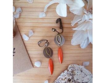 ▲ ▲ type clips, red & bronze pendant earrings BILUNE Orange!