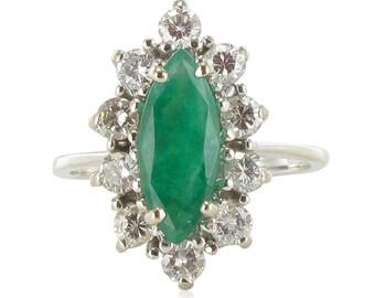 Bague marquise émeraude diamants Or blanc 18K Vintage  Classique