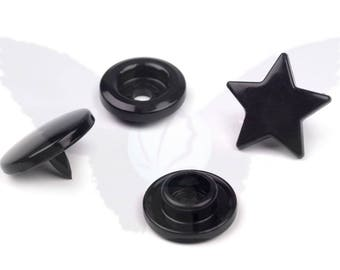 Set of 20 complete sets of plastic snap fasteners KAM star shape - B05 Black