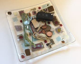 Square glass dish 'Copper Squareburst'