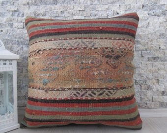 Pale Color Hand Woven Vintage Kilim Pillow 18x18 Handmade Cushion Vegetable Dyed Turkey Pillow Decorative Boho Pillow Turkish Bolster