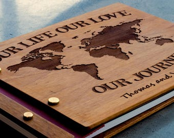 Wooden travel photobook, Personalized , Travel photo album , Travel scrapbook album , Travel album ,   Walnut