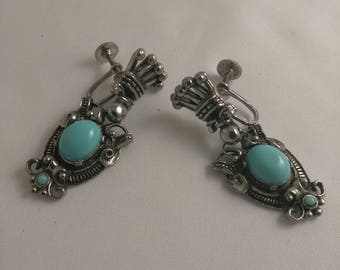 Silver Tone Faux Turquoise Victorian Style Dangle Screw Back Earrings Vintage